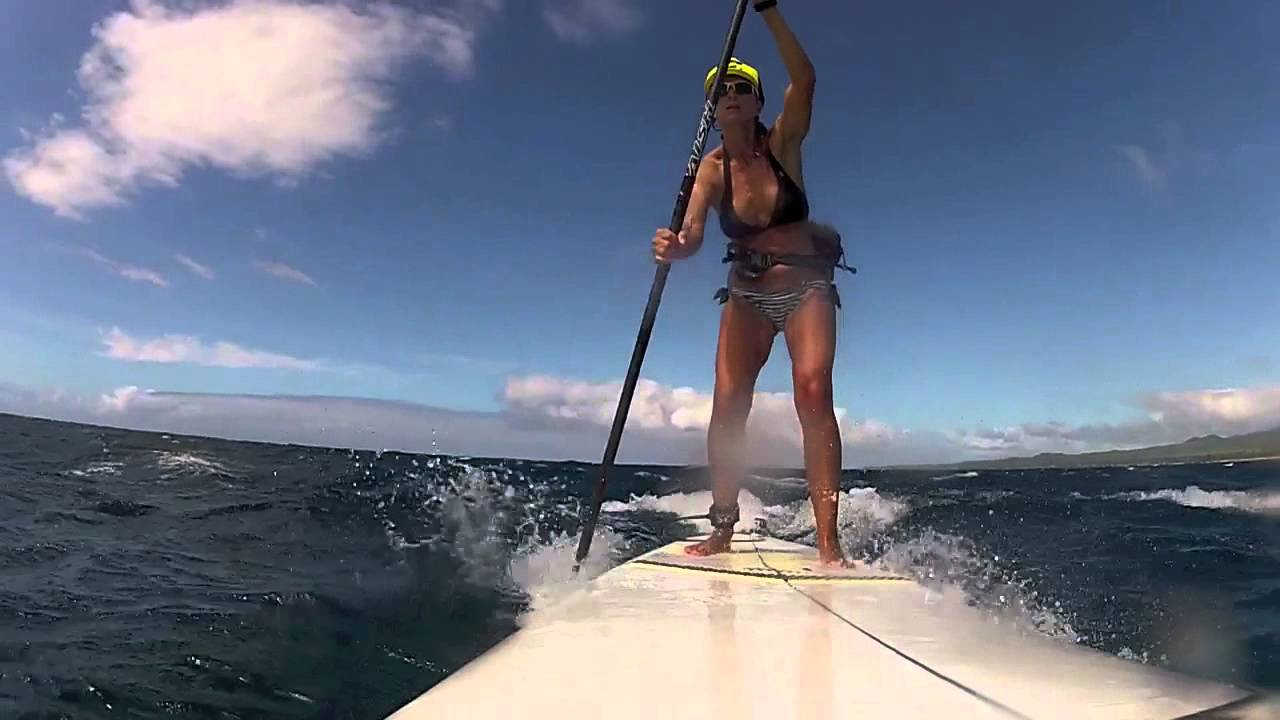 Maui SUP Surf Maliko Downwinder with Suzie Cooney and Dual GoPro Cameras