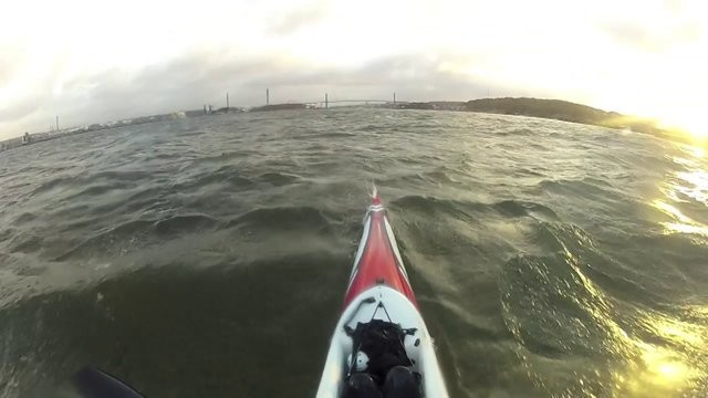 Going downwind to work on a Surfski